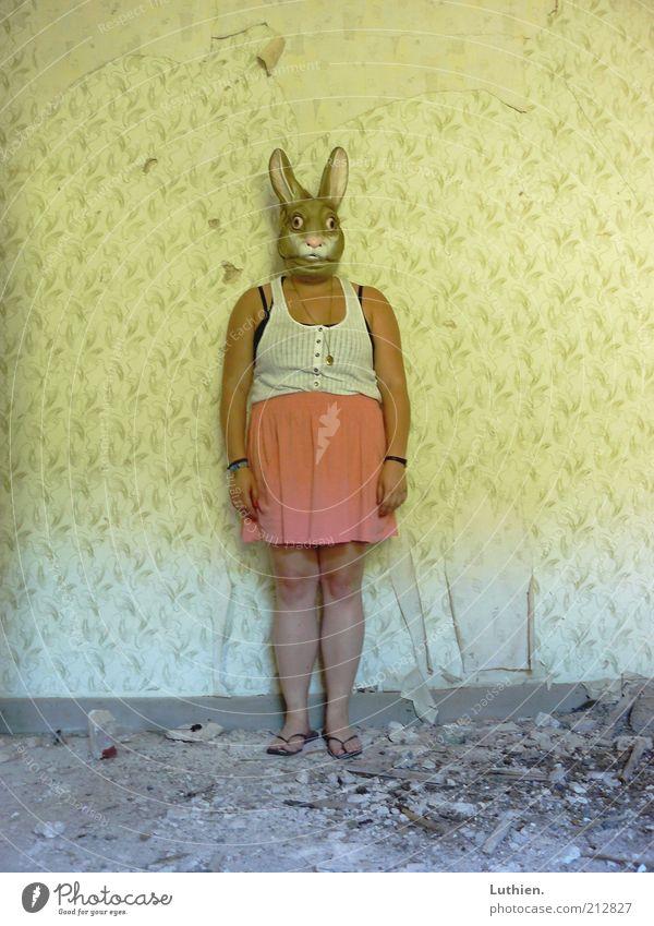 es klingt und singt. Frau Mensch weiß Erwachsene gelb feminin Wand lustig braun verrückt außergewöhnlich stehen Maske gruselig Hemd Tapete