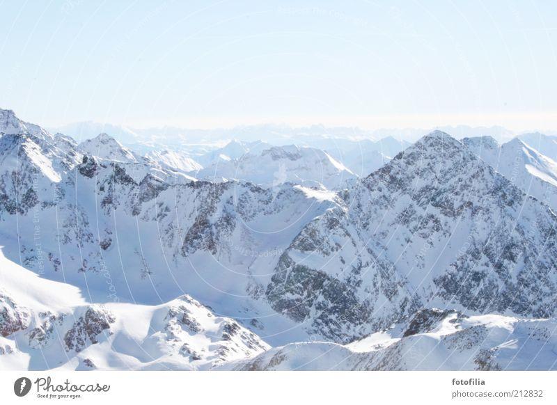 weiße welt Himmel Ferien & Urlaub & Reisen Winter ruhig Ferne Erholung kalt Schnee Freiheit Berge u. Gebirge Landschaft Umwelt Eis Horizont Felsen Frost