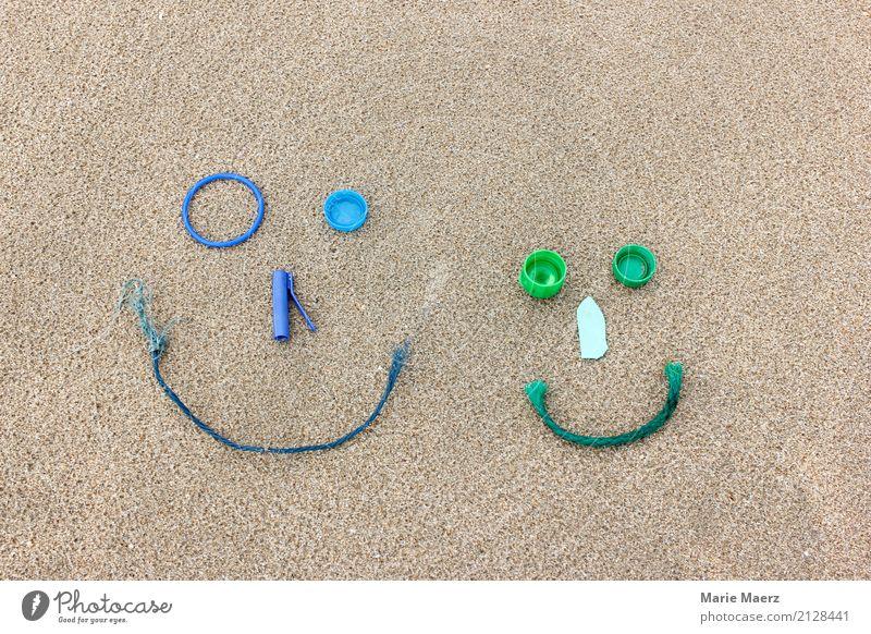 #100 Happy weekend Kunststoffverpackung Kitsch Krimskrams Sand entdecken frech Neugier blau grün Freude Optimismus Freizeit & Hobby Natur Umweltverschmutzung