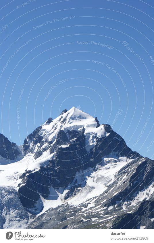 Zuckerguss Tourismus Winter Schnee Berge u. Gebirge Umwelt Natur Landschaft Himmel Sommer Klima Gipfel Schneebedeckte Gipfel Gletscher Schweiz oben blau