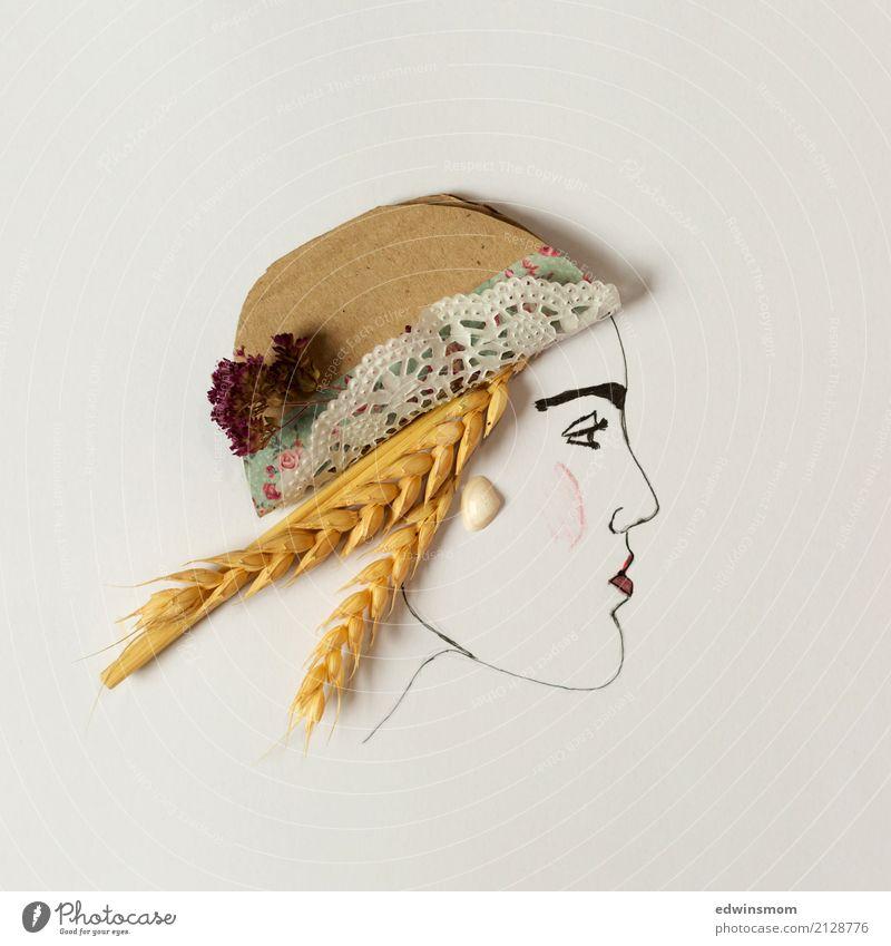 Summer Freizeit & Hobby Basteln Sommer feminin Natur Getreide Accessoire Hut Papier Dekoration & Verzierung Muschelschale Blick warten blond schön natürlich