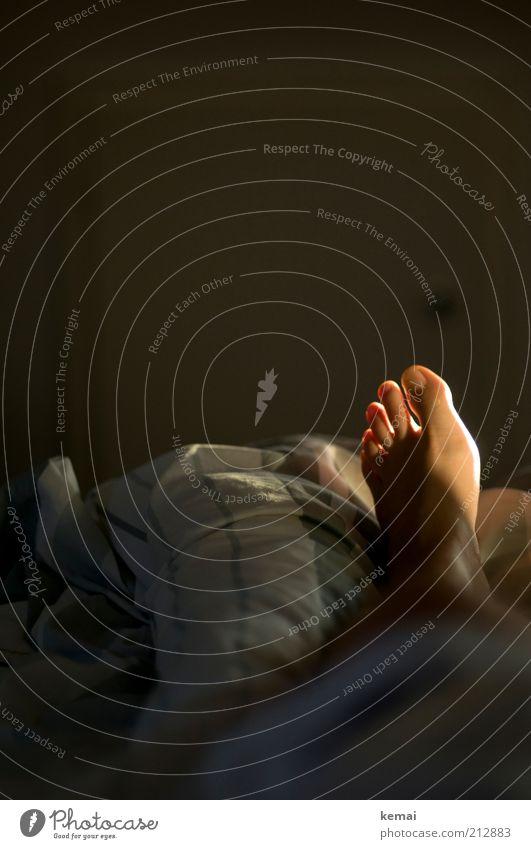 Links II (Guten Morgen) Mensch Frau Erwachsene dunkel Fuß Beleuchtung liegen Häusliches Leben Bett Bettwäsche Barfuß Zehen links Bettdecke aufwachen