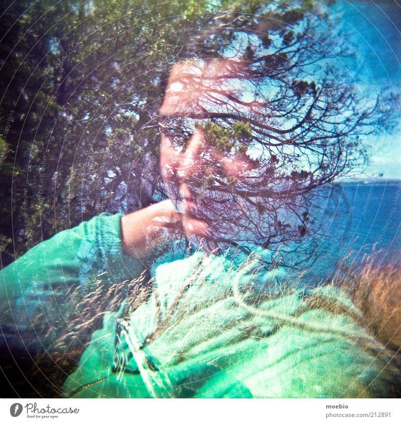 Mensch Frau blau Wasser grün schön Baum Erwachsene Gesicht gelb feminin Glück See Kunst Park modern