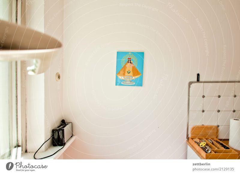 Küche Fenster Wand Innenarchitektur Kunst Lampe Textfreiraum Wohnung Häusliches Leben Raum Gemälde Bild Besteck Maria Lebensraum Kunstgalerie