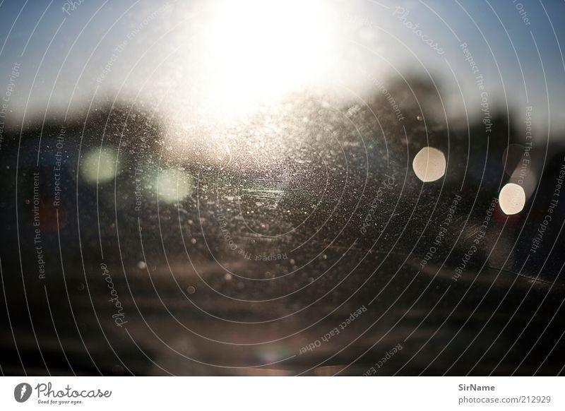 136 [morning traffic] Sonne Wege & Pfade Autofenster Horizont leuchten Perspektive bedrohlich Ziel stagnierend blenden Schwäche Straßenverkehr diffus unklar