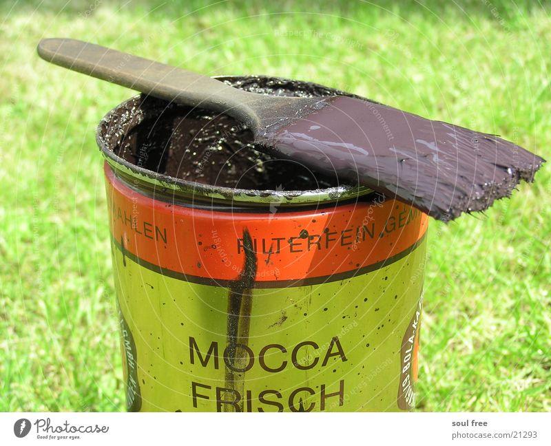 Mocca Frisch...? Farbtopf Farbdose Dose Pinsel streichen braun Kaffeedose Handwerk Farbe DDR