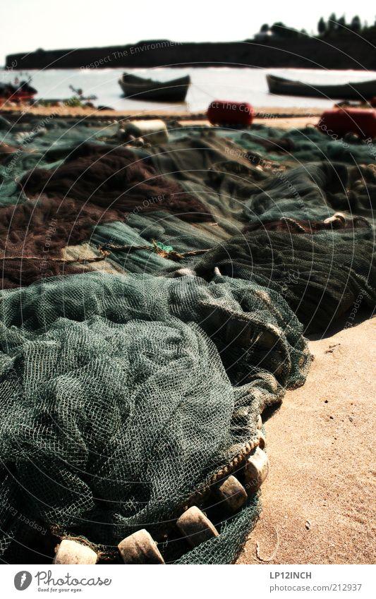 Fische fangen Wasser Sommer Meer Strand Umwelt Sand Küste Wasserfahrzeug Netzwerk Tradition Fischereiwirtschaft Fangnetz Haufen Fischerboot Nylon