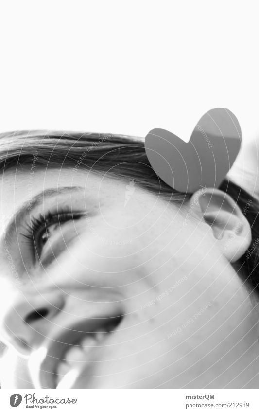 Bis hinter beide Ohren. Frau Jugendliche schön Freude Gesicht Liebe Gefühle Haare & Frisuren Junge Frau Glück Kunst 18-30 Jahre natürlich Herz Haut ästhetisch