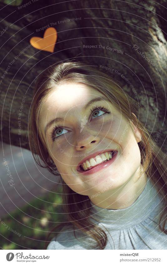 Verliebt. Frau Jugendliche schön Freude Gesicht Liebe Spielen Gefühle Junge Frau lachen 18-30 Jahre natürlich Herz ästhetisch Lächeln Zähne