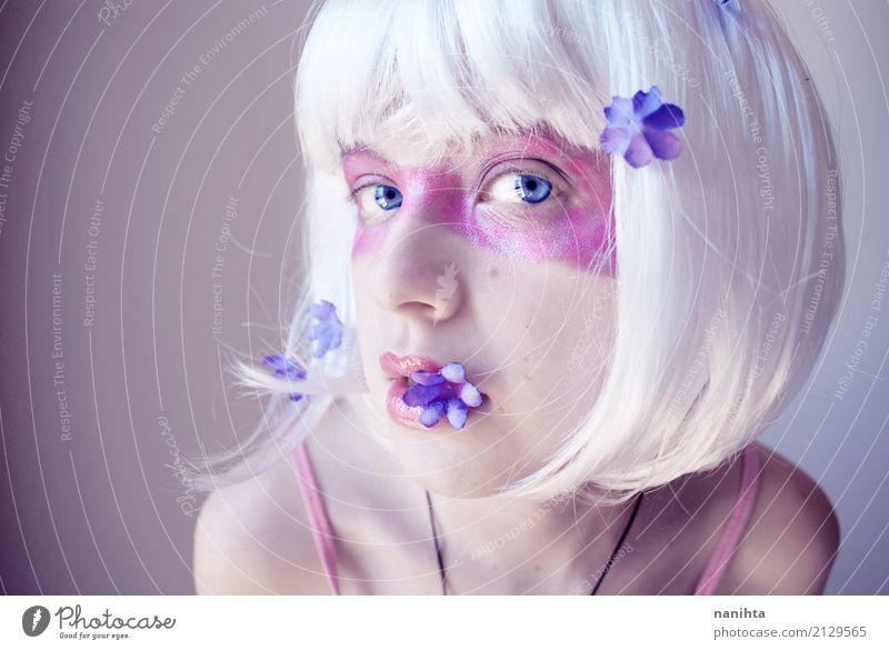 Mensch Jugendliche Junge Frau schön weiß Blume 18-30 Jahre Erwachsene Auge feminin Stil Kunst außergewöhnlich Party Feste & Feiern rosa