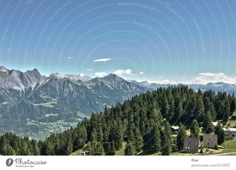 pardiel Freizeit & Hobby Ausflug Berge u. Gebirge Umwelt Natur Landschaft Himmel Wolken Sommer Wetter Schönes Wetter Pflanze Baum Wald Alpen Haus hoch Aussicht