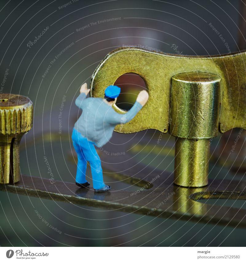 Miniwelten - Zeitarbeit Mensch Mann blau Erwachsene maskulin gold Energiewirtschaft Technik & Technologie Maschine Motor