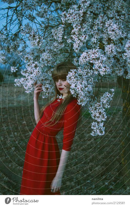 Junge Frau, die mit vielen weißen Blumen aufwirft elegant Mensch feminin Jugendliche 1 18-30 Jahre Erwachsene Kunst Umwelt Natur Erde Frühling Baum Kleid blond