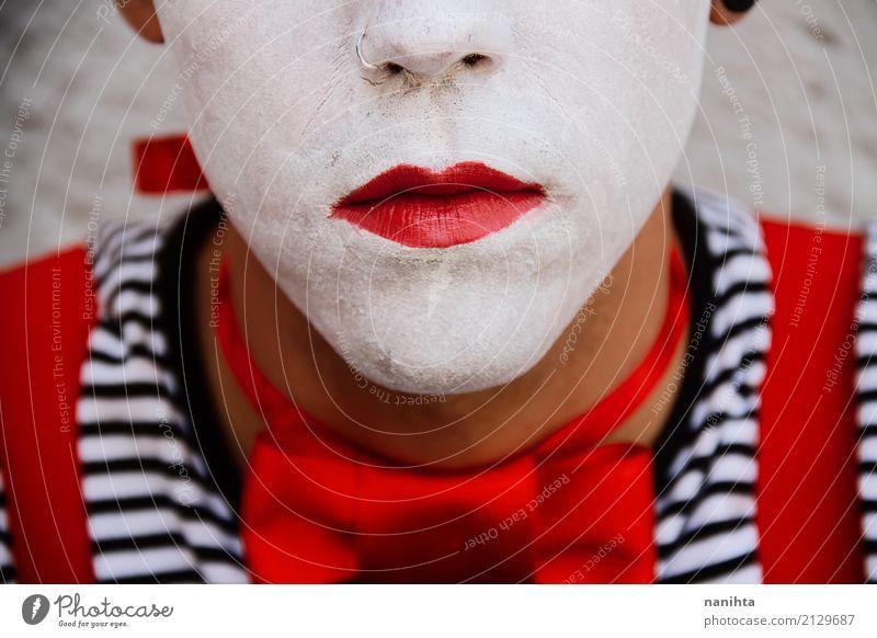 Schließen Sie oben von einem Clownportrait Mensch Jugendliche Junger Mann weiß rot 18-30 Jahre schwarz Gesicht Erwachsene Kunst Feste & Feiern Stimmung maskulin