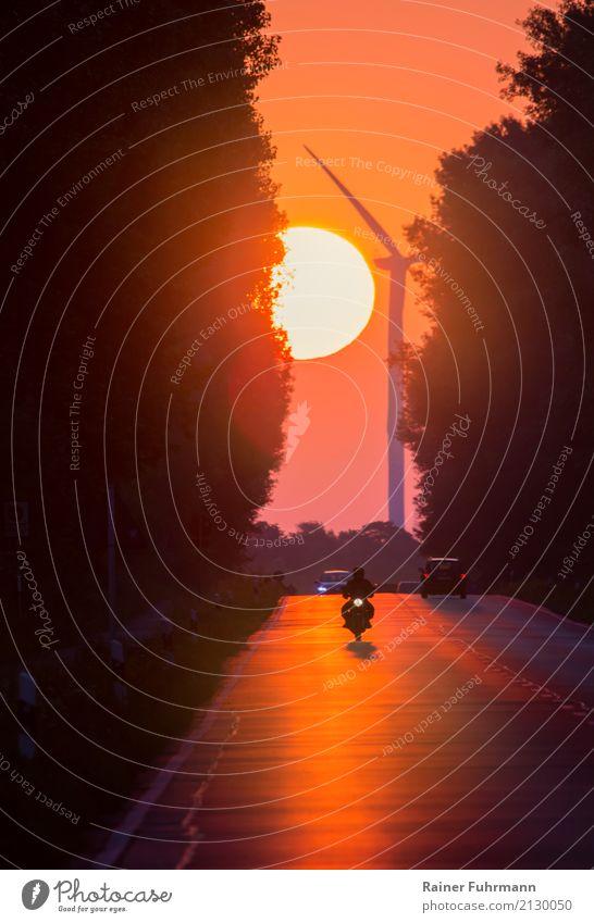 ein Sonnenaufgang an einer Landstrasse mit Fahrzeugverkehr Landschaft Straße Umwelt Stimmung Verkehr Wetter PKW gold fantastisch Schönes Wetter fahren