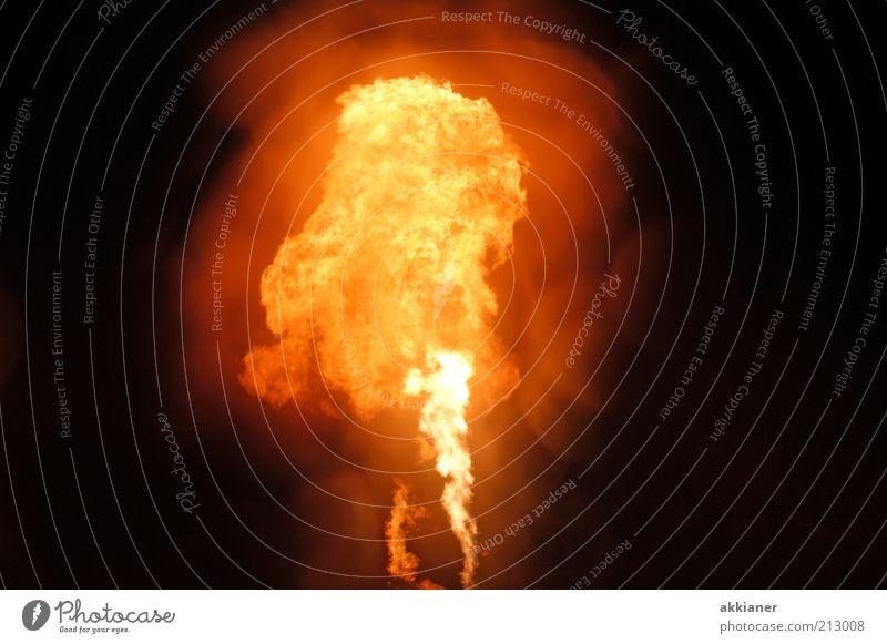 Feuerseule Urelemente heiß hell Wärme gelb schwarz orange Flamme Farbfoto Außenaufnahme Menschenleer Textfreiraum links Textfreiraum rechts Nacht Freisteller