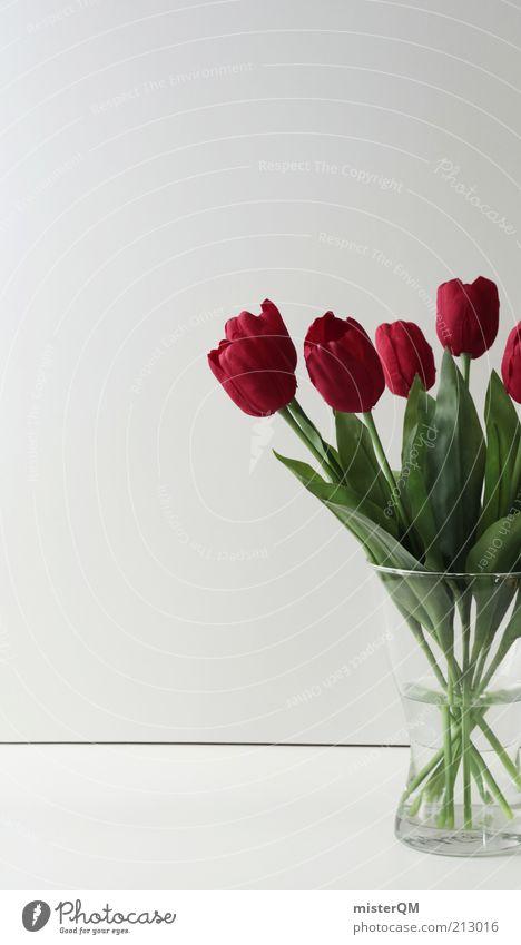 Immerfrisch. Pflanze sparsam ästhetisch Design Kitsch Blume Blumenstrauß Blumenstengel Tulpe rot Kunstblume Vase Dekoration & Verzierung modern Frühling