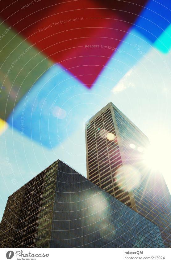 Dyed NY I Stadt blau rot Haus Design Hochhaus ästhetisch Zukunft außergewöhnlich Kreativität aufwärts Idee New York City blenden