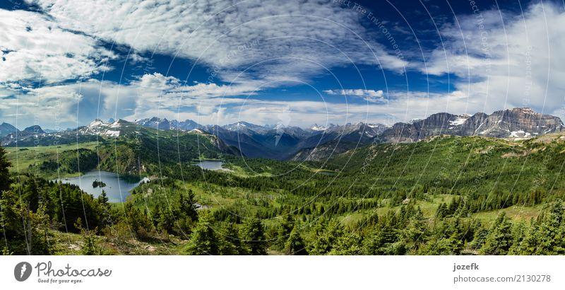 Kanadische Rockies Panorama Ferien & Urlaub & Reisen Tourismus Ausflug Abenteuer Sightseeing Sommer Sommerurlaub Natur Landschaft Wasser Himmel Wolken schön