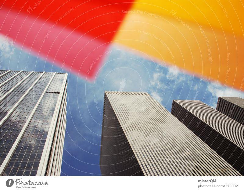 Dyed NY III Stadt rot gelb orange Kunst Design Hochhaus hoch ästhetisch USA außergewöhnlich Kreativität aufwärts Idee