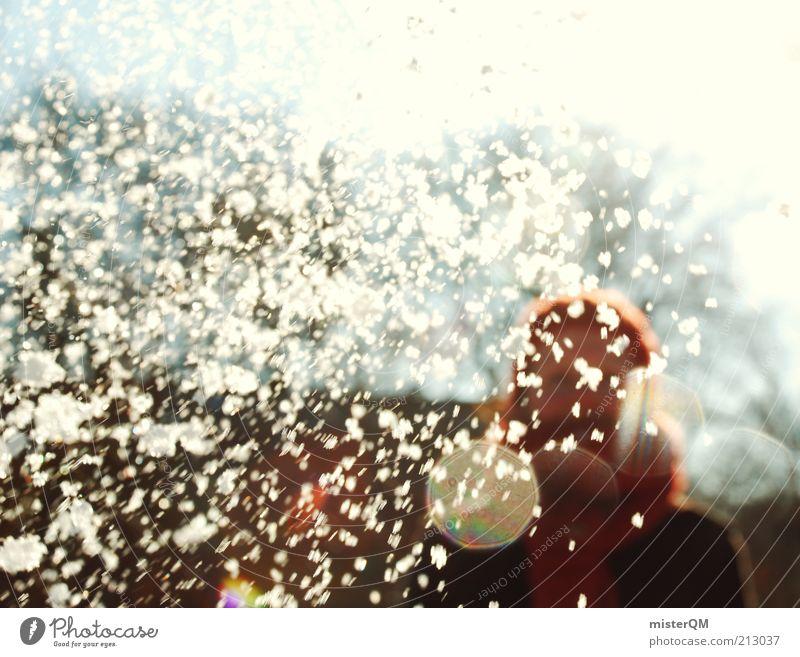 Treffer. Frau weiß Winter Freude Leben kalt Schneefall Kunst ästhetisch verrückt Schnee Mütze November spritzen Schal Treffer
