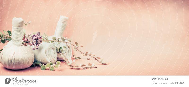 Spa oder Wellness Hintergrund mit Massage Zubehör Stil Design Körperpflege Gesundheit Erholung Natur Blume Dekoration & Verzierung Fahne rosa Hintergrundbild