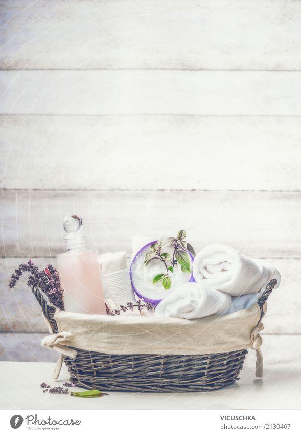 Korb mit Spa, Wellness Zubehör schön Erholung Lifestyle Gesundheit Hintergrundbild Stil Design Tisch Kräuter & Gewürze Körperpflege Kosmetik Massage Creme