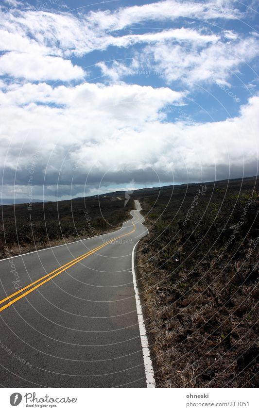 Straßenbaukunst Landschaft Erde Himmel Wolken Maui Verkehr Verkehrswege Wege & Pfade Ferne Kurve wellig Farbfoto Ziel Menschenleer Wolkenhimmel Straßenrand lang
