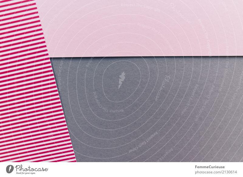 Muster (07) Papier Zettel mehrfarbig rot-weiß grau rosa gestreift Streifen graphisch Geometrie Strukturen & Formen Design Bastelmaterial Basteln Rechteck