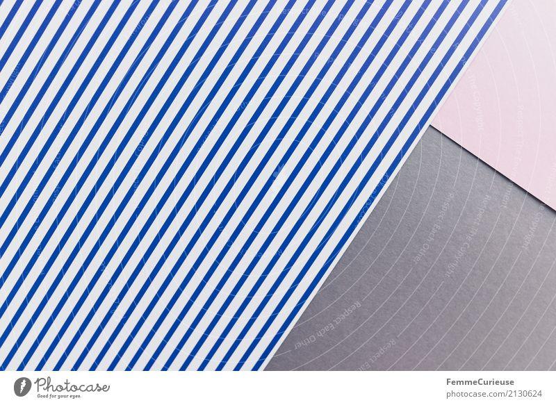 Muster (06) Papier Zettel mehrfarbig blau-weiß grau rosa Farbkombination Farbstoff Farbenspiel graphisch Geometrie Strukturen & Formen gestreift Streifen