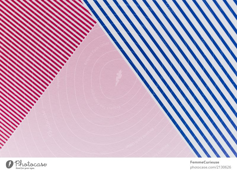 Muster (08) Papier Zettel mehrfarbig rot-weiß blau-weiß rosa graphisch Dreieck Rechteck Geometrie Design Strukturen & Formen Bastelmaterial Farbkombination