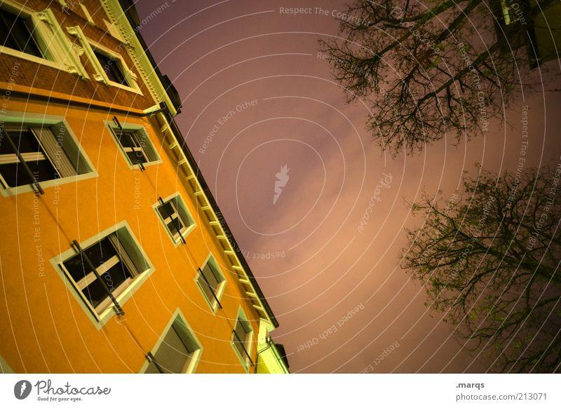 Unwetter Baum gelb dunkel Herbst Wand Fenster Gebäude orange Architektur Fassade Perspektive bedrohlich Wandel & Veränderung Häusliches Leben gruselig