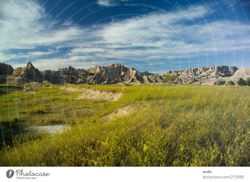 Himmel Natur blau Ferien & Urlaub & Reisen grün weiß schön Sommer Wolken Landschaft Ferne gelb Umwelt Wiese Berge u. Gebirge Wärme