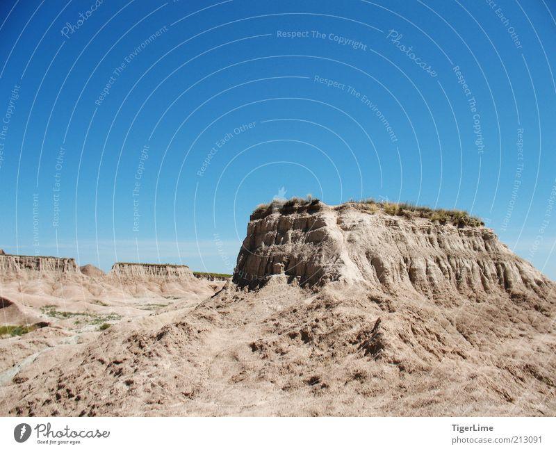 Ödland-Podest Umwelt Natur Landschaft Sand Luft Himmel Wolkenloser Himmel Sonnenlicht Sommer Klimawandel Wärme Dürre Hügel Felsen Berge u. Gebirge