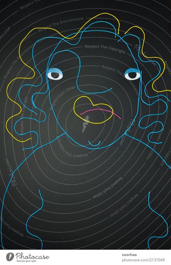 madame scheisse drauf Wolle wollfäden Bild Zeichnung Kunst dunkel mehrfarbig karikatur Auge Frau Schlechte Laune feminin abstrakt abstrahiert Umrisslinie