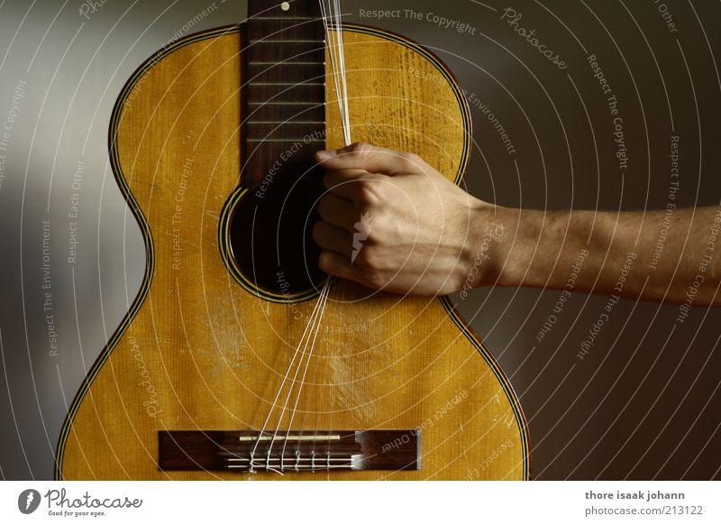 Octabass-Stimmung Musik Hand Punk Gitarre Rocker Saite Aggression rebellisch braun Kraft Wut Leidenschaft Arme Zerstörung Zerreißen Farbfoto Gedeckte Farben