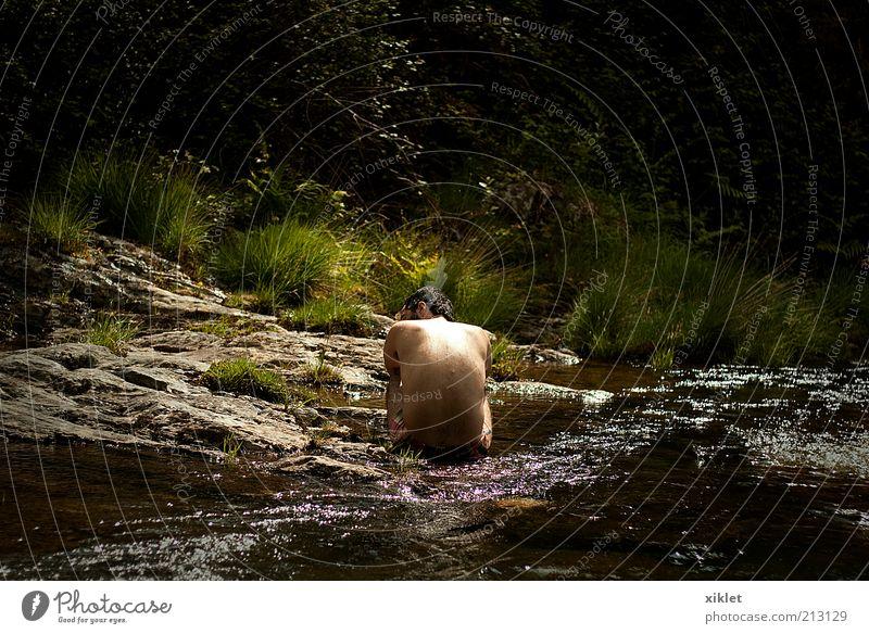 Mann Natur Wasser grün Baum Sommer Einsamkeit Wald nackt Berge u. Gebirge Traurigkeit See Denken Schwimmen & Baden sitzen Fluss