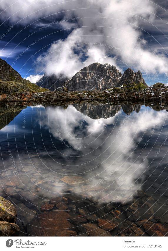 Spiegel mir die Wand Himmel Natur blau Wasser grün Sommer Wolken Landschaft Umwelt Berge u. Gebirge Stein See Luft Felsen Wetter Kraft