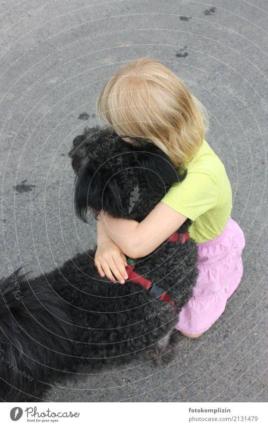 hund liebe 2 Mädchen 1 Mensch 3-8 Jahre Kind Kindheit Tier Haustier Hund berühren festhalten Liebe Umarmen Zusammensein Gefühle Vertrauen Sympathie Freundschaft