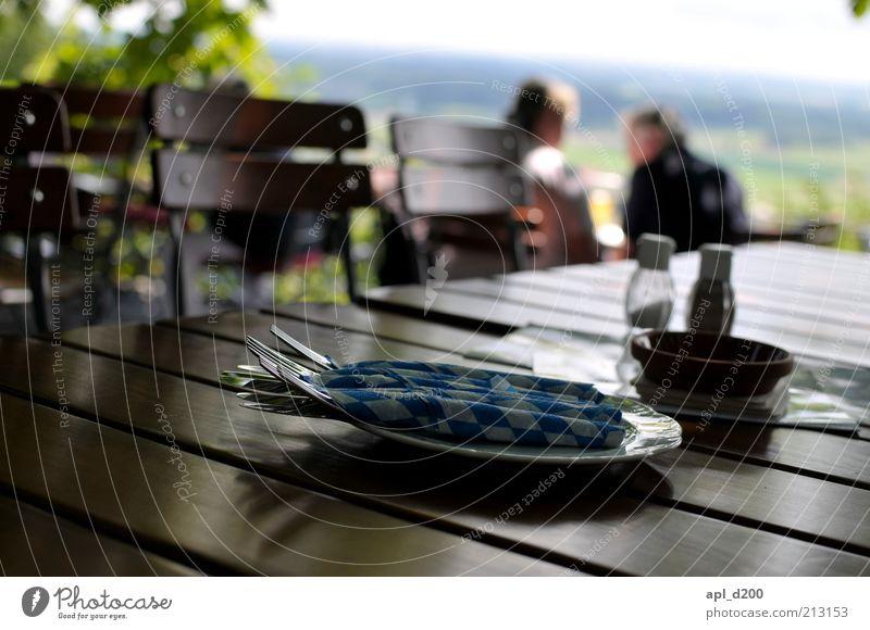 beergarden Geschirr Teller Besteck Freizeit & Hobby Sommer Garten Biergarten Mensch maskulin Mann Erwachsene 2 sitzen authentisch blau braun grün weiß