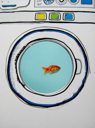 Gleich geht's rund! Tier Fisch Goldfisch 1 Waschmaschine blau weiß bizarr skurril Überleben Tierhaltung Aquarium Bullauge Schleudergang Schonwaschgang