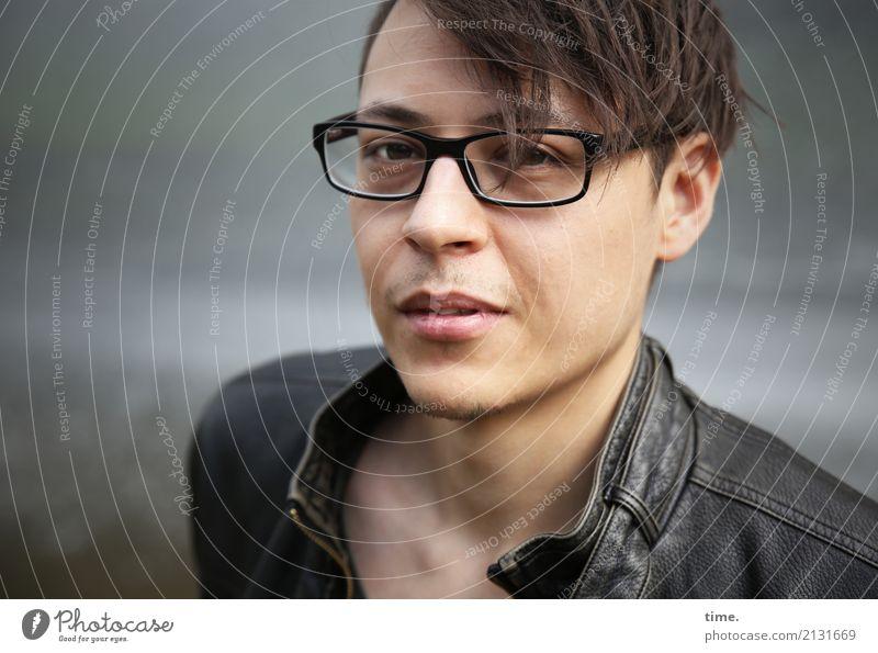 . Mensch Mann schön dunkel Erwachsene Haare & Frisuren maskulin ästhetisch beobachten Coolness Brille Neugier entdecken Konzentration Jacke Wachsamkeit
