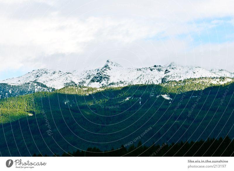 Zucker auf den Bergen Natur schön Himmel grün Sommer Ferien & Urlaub & Reisen ruhig Wolken Ferne Wald Schnee Erholung Herbst Berge u. Gebirge Freiheit Landschaft