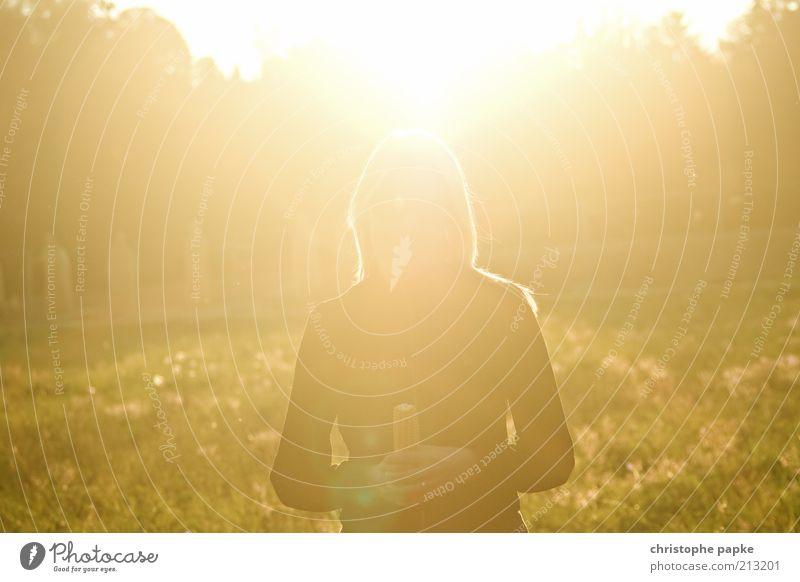 Gewinnerin des goldenen Maiskolbens Mensch Natur Jugendliche Sonne Sommer Herbst feminin Stimmung hell Feld Erwachsene Schönes Wetter blenden Blendenfleck