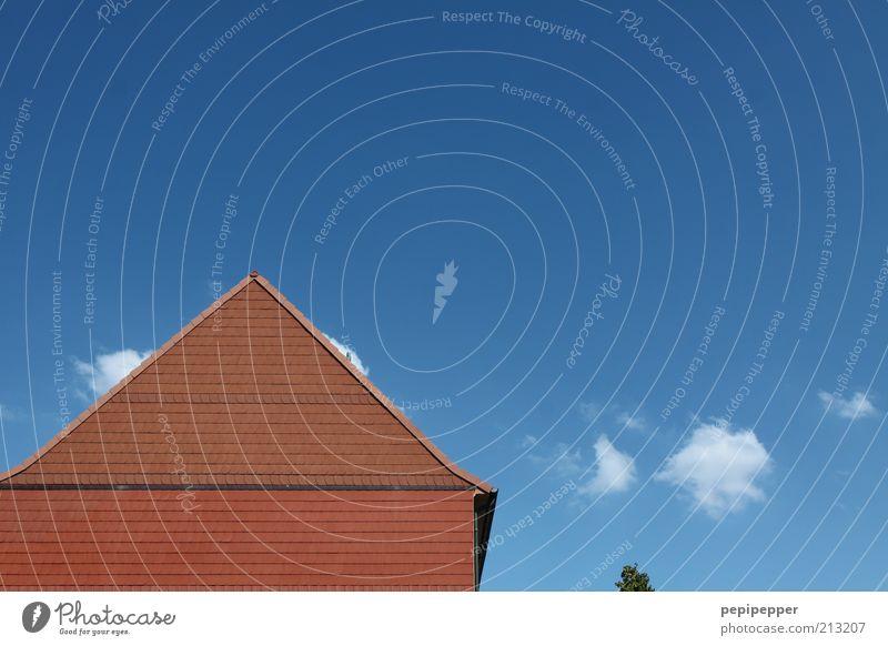 jetzt ein anti-schuppen shampoo Haus Einfamilienhaus Fassade Dach blau rot Farbfoto Außenaufnahme Menschenleer Tag Spitzdach Dachgiebel Giebelseite
