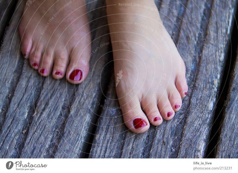 barfuß - Freiheit für die Füße! Frau schön rot Sommer Erwachsene Leben feminin Stil Fuß elegant Haut natürlich ästhetisch authentisch stehen