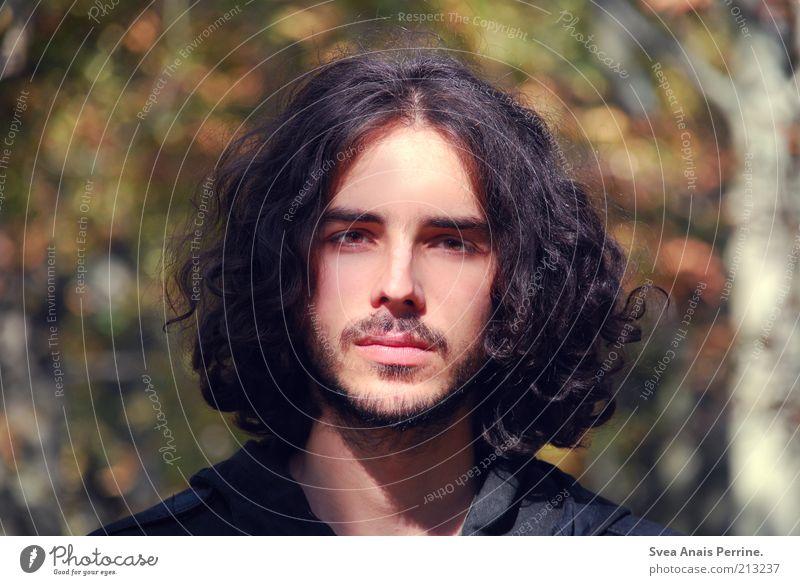 Herr Herbst. Mensch Mann Jugendliche schön Gefühle Haare & Frisuren Stimmung Erwachsene maskulin einzigartig Lippen nachdenklich brünett Locken Schönes Wetter