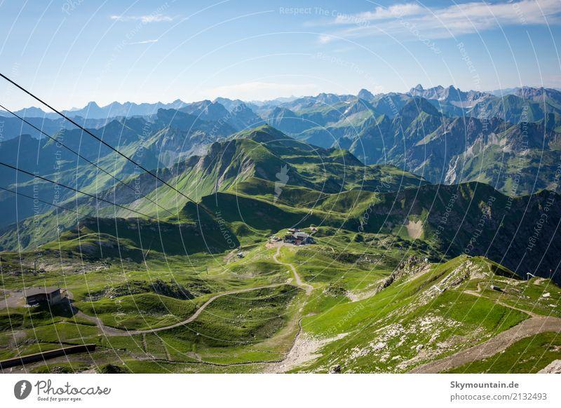 Blick vom Nebelhorn in die Allgäuer Alpen Natur Ferien & Urlaub & Reisen Sommer Landschaft Erholung Freude Ferne Berge u. Gebirge Umwelt Gesundheit Glück