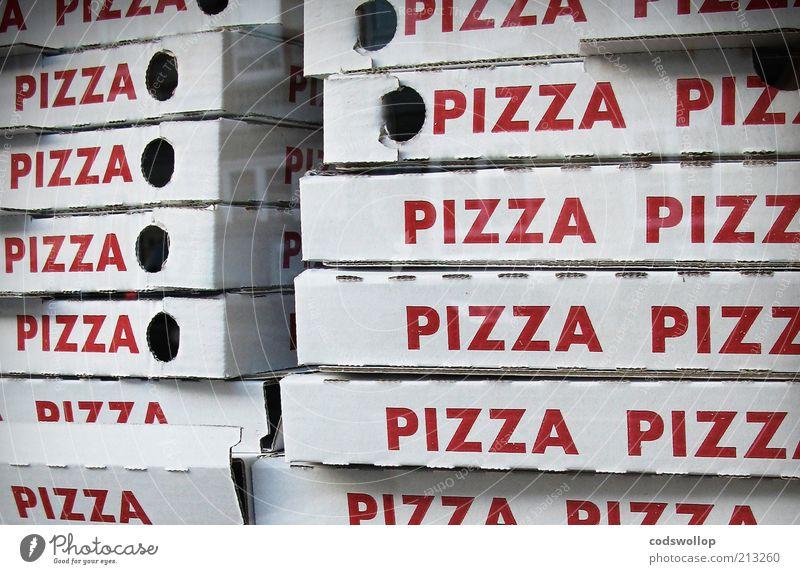 sal's famous pizzeria weiß rot Fenster Lebensmittel Schriftzeichen Wort Karton Fensterscheibe Wiederholung Stapel Mittagessen Pizza Anschnitt Verpackung Bildausschnitt Fastfood