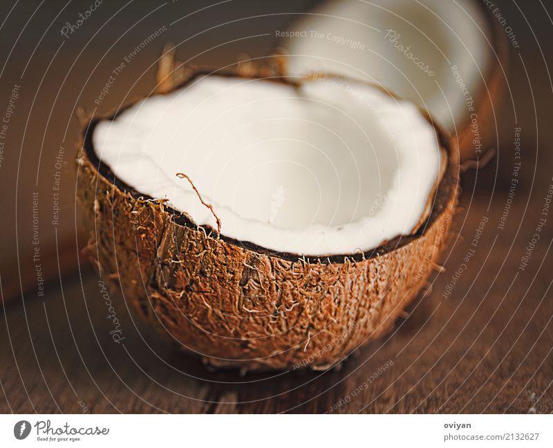 Kokosnüsse Lebensmittel Fleisch Frucht Öl Ernährung Essen Bioprodukte Asiatische Küche frisch nass natürlich rund Sauberkeit süß braun roh Zutaten Muschelform
